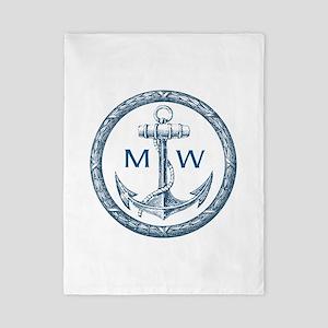 Anchor, Nautical Monogram Twin Duvet