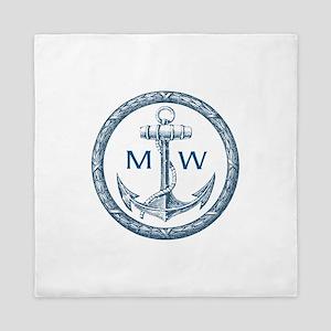 Anchor, Nautical Monogram Queen Duvet