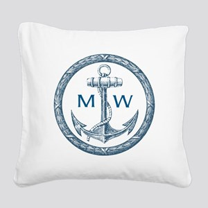 Anchor, Nautical Monogram Square Canvas Pillow