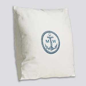 Anchor, Nautical Monogram Burlap Throw Pillow
