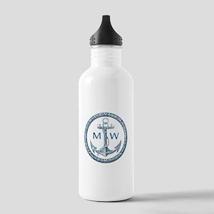 Anchor, Nautical Monogram Water Bottle