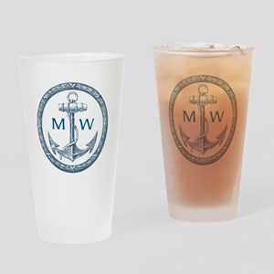 Anchor, Nautical Monogram Drinking Glass