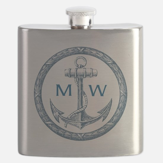 Anchor, Nautical Monogram Flask