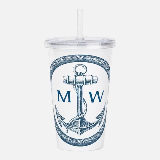 Anchor, Nautical Monogram Acrylic Double-wall Tumb