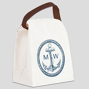Anchor, Nautical Monogram Canvas Lunch Bag