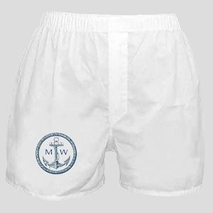 Anchor, Nautical Monogram Boxer Shorts