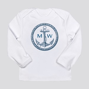 Anchor, Nautical Monogram Long Sleeve T-Shirt