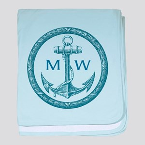 Anchor, Nautical Monogram baby blanket