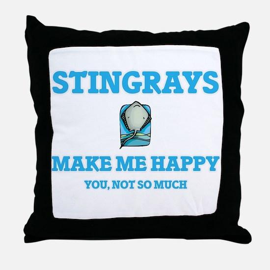 Stingrays Make Me Happy Throw Pillow