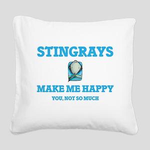 Stingrays Make Me Happy Square Canvas Pillow
