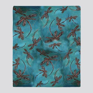 Dragonfly Flit Turquoise Throw Blanket