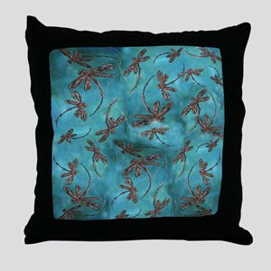 Dragonfly Flit Turquoise Throw Pillow