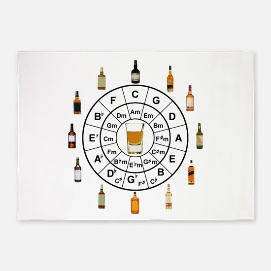 Circle of Whiskey 5th 5'x7'Area Rug
