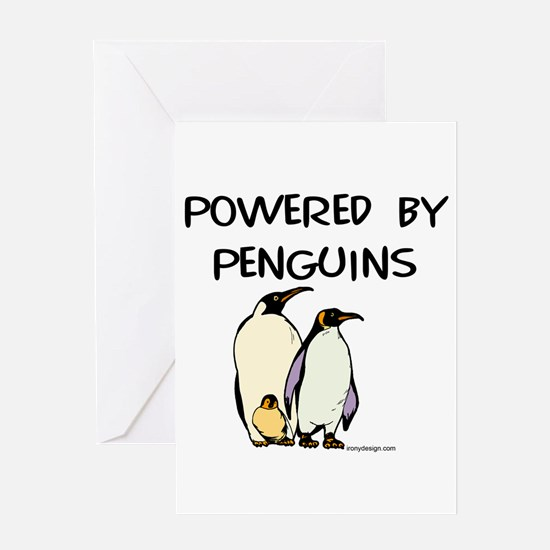 Powered by penguins Greeting Cards