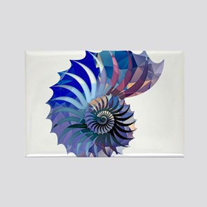 Mosaic Polygon Blue & Purple Nautilus Shell Magnet