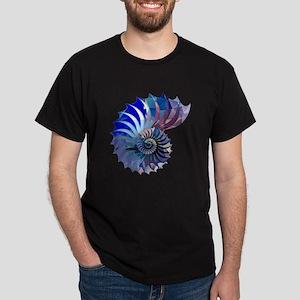 Mosaic Polygon Blue & Purple Nautilus Shell T-Shir