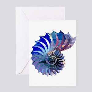Mosaic Polygon Blue & Purple Nautilus Shell Greeti