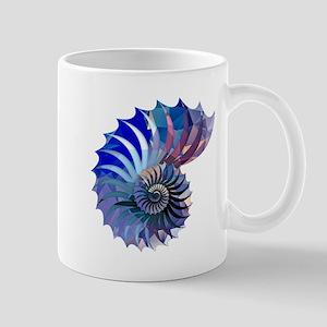 Mosaic Polygon Blue & Purple Nautilus Shell Mugs