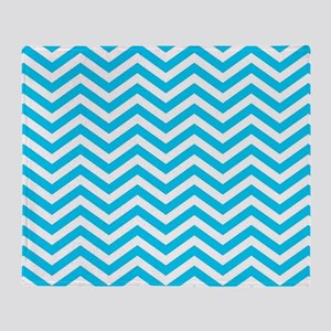 Blue and white chevrons 1 Throw Blanket
