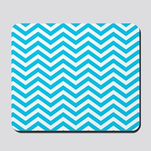 Blue and white chevrons 1 Mousepad