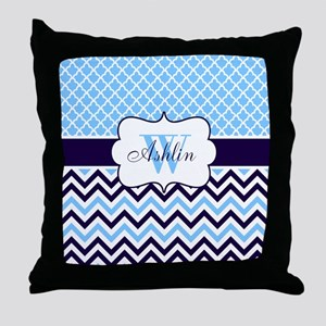 Navy Blue Chevron Quatrefoil Personalized Throw Pi