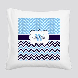 Navy Blue Chevron Quatrefoil Personalized Square C