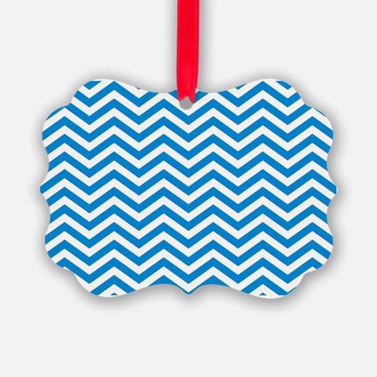 Blue and white chevrons 3 Ornament