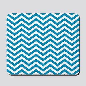 Blue and white chevrons 4 Mousepad