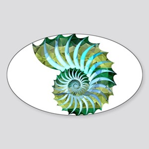 Mosaic Polygon Blue & Green Nautilus Shell Sticker