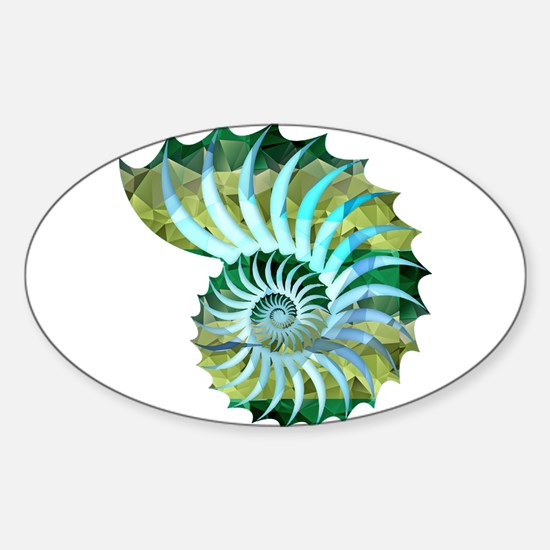 Mosaic Polygon Blue & Green Nautilus Shell Decal