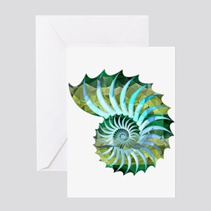Mosaic Polygon Blue & Green Nautilus Shell Greetin
