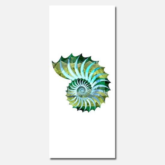 Mosaic Polygon Blue & Green Nautilus Shell Invitat