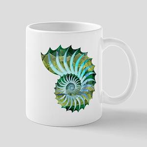 Mosaic Polygon Blue & Green Nautilus Shell Mugs