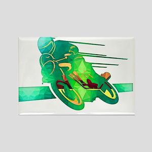 Speeding Motorcycle Silhouette Ne Magnets