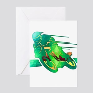 Speeding Motorcycle Silhouette Neon Green Polygons