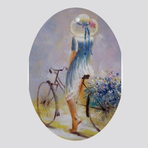 Vintage Bicycle Ornament (Oval)