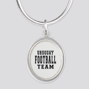 Uruguay Football Team Silver Oval Necklace
