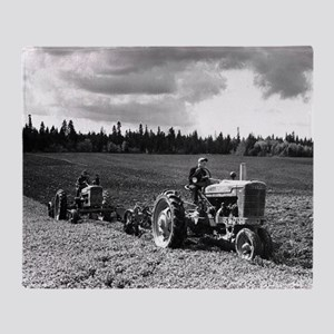 Plowing in 1950 Throw Blanket