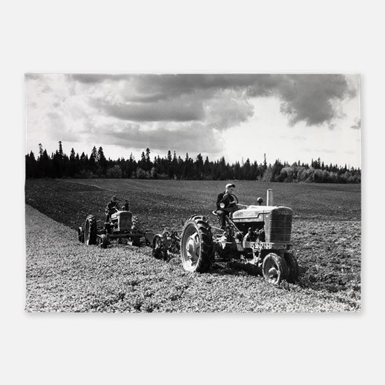 Plowing in 1950 5'x7'Area Rug