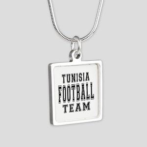 Tunisia Football Team Silver Square Necklace