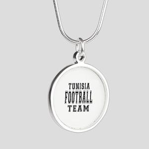 Tunisia Football Team Silver Round Necklace