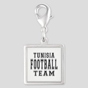 Tunisia Football Team Silver Square Charm