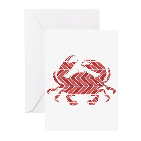 Chevron Crab Greeting Cards