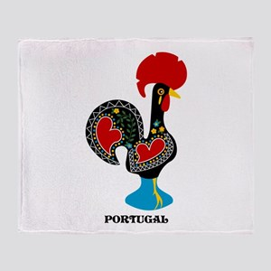 Portuguese Rooster of Luck Throw Blanket