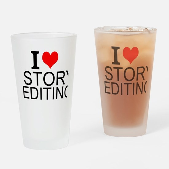 I Love Story Editing Drinking Glass