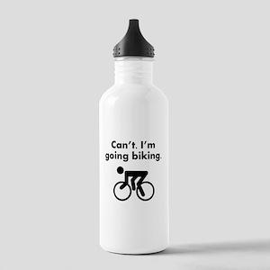 Cant Im Going Biking Water Bottle