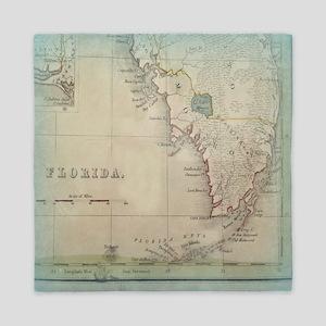 Florida Keys Antique Map Queen Duvet