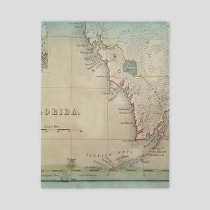 Florida Keys Antique Map Twin Duvet