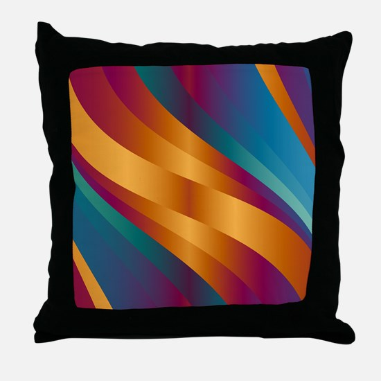 Golden Turquoise Wave Throw Pillow
