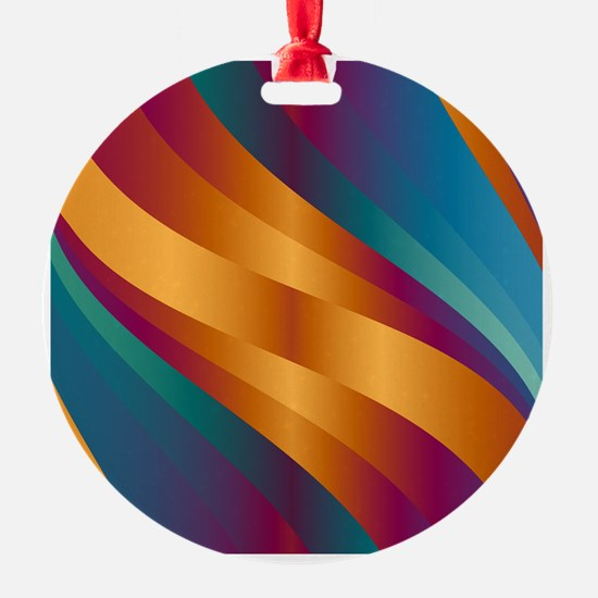 Golden Turquoise Wave Ornament